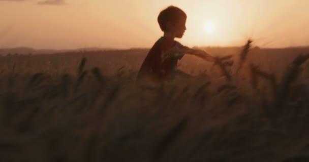 Fiatal fiú a superman köpeny futás-ban egy mező során naplemente