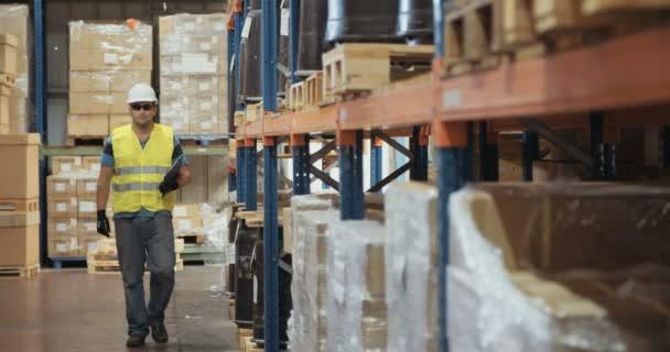 Követés szemcsésedik-ból megvizsgáló szereplő tágas raktár sisakot viselő logisztikai munkavállaló