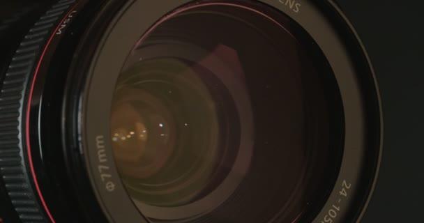Macro shot of a video zoom lens focusing