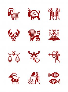 Zodiac Symbol icons in style of north Russian pattern.