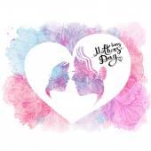 Glücklich Muttertag. Herzlichen Glückwunsch. Die Inschrift auf dem weißen Hintergrund mit Wasserfarben Flecken. Vektor-illustration