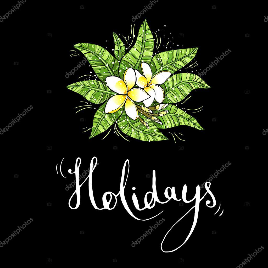 Ilustración sobre fondo negro con flores tropicales y unas ...