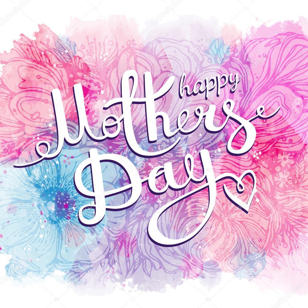 Mutlu Anneler Günü Tebrikler Sulu Boya Lekeleri Ile çiçek Pembe