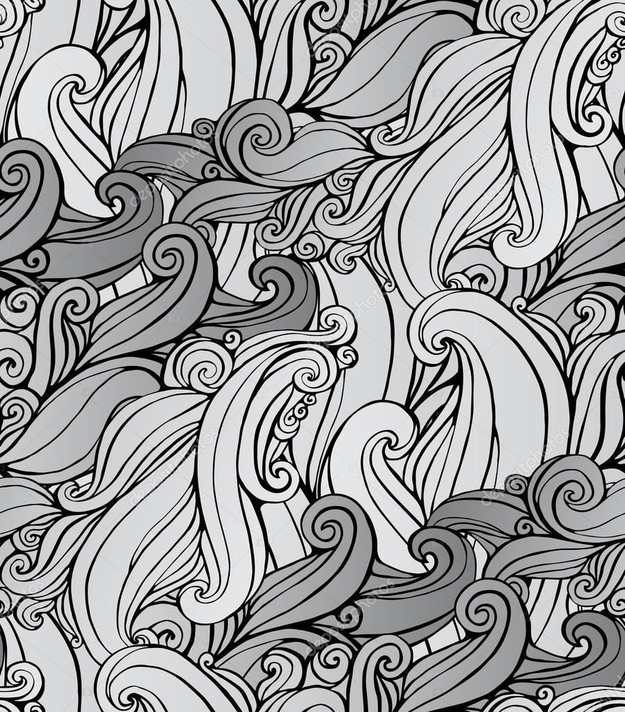 Seamless pattern with black and white spiral curls  Stylized ocean