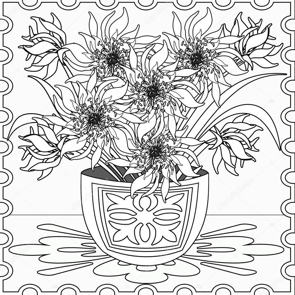 Бесшовный фон страницы раскраска с декоративные цветочные ...
