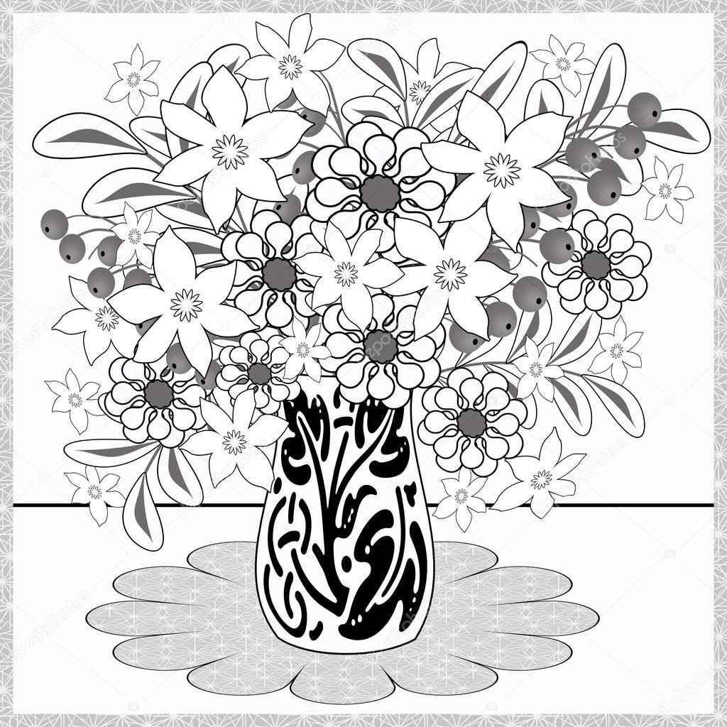 Kleurplaten Vaas Met Bloemen.Kleurplaat Pagina Decoratieve Decoratieve Elementen Bloemen In De