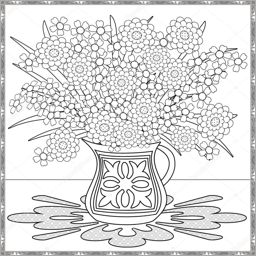 Sayfa Dekoratif Dekoratif Elemanlar çiçek Vazo çizimde Boyama Stok
