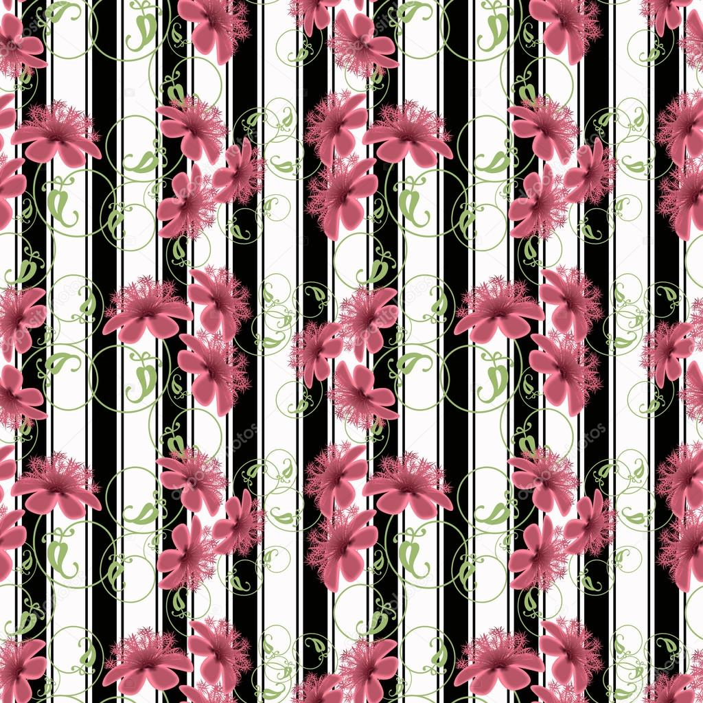 Floral seamless pattern cute cartoon pink flowers white black floral seamless pattern cute cartoon pink flowers white black background stripe stock photo mightylinksfo