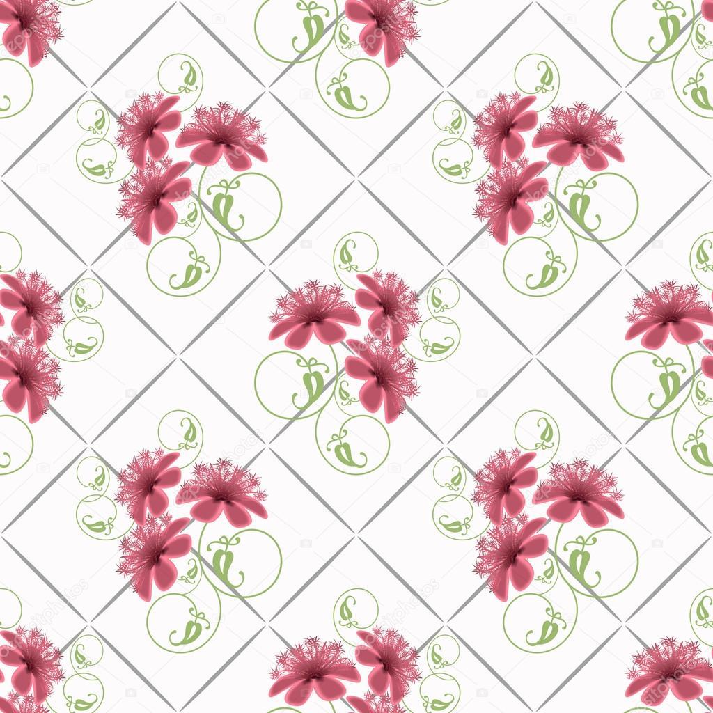 Floral seamless pattern cute cartoon pink flowers white background floral seamless pattern cute cartoon pink flowers white background stock photo mightylinksfo