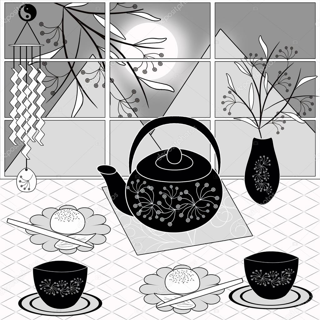 background with dessert tea and flowers template for menu