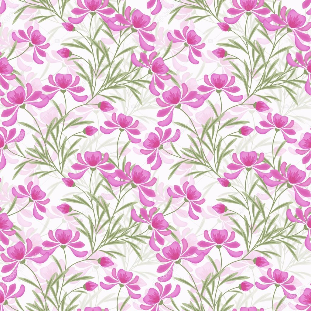 Floral Seamless Pattern Pink Flowers White Background Stock Photo