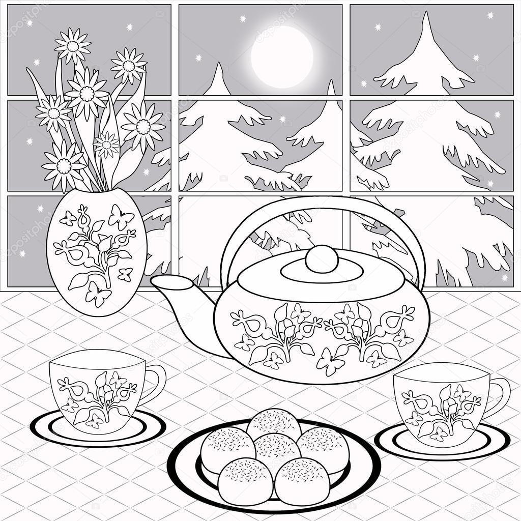 Ausmalbilder Halloween Erwachsene : Hintergrund Mit Dessert Tee Und Blumen Auf Dem Hintergrund Des