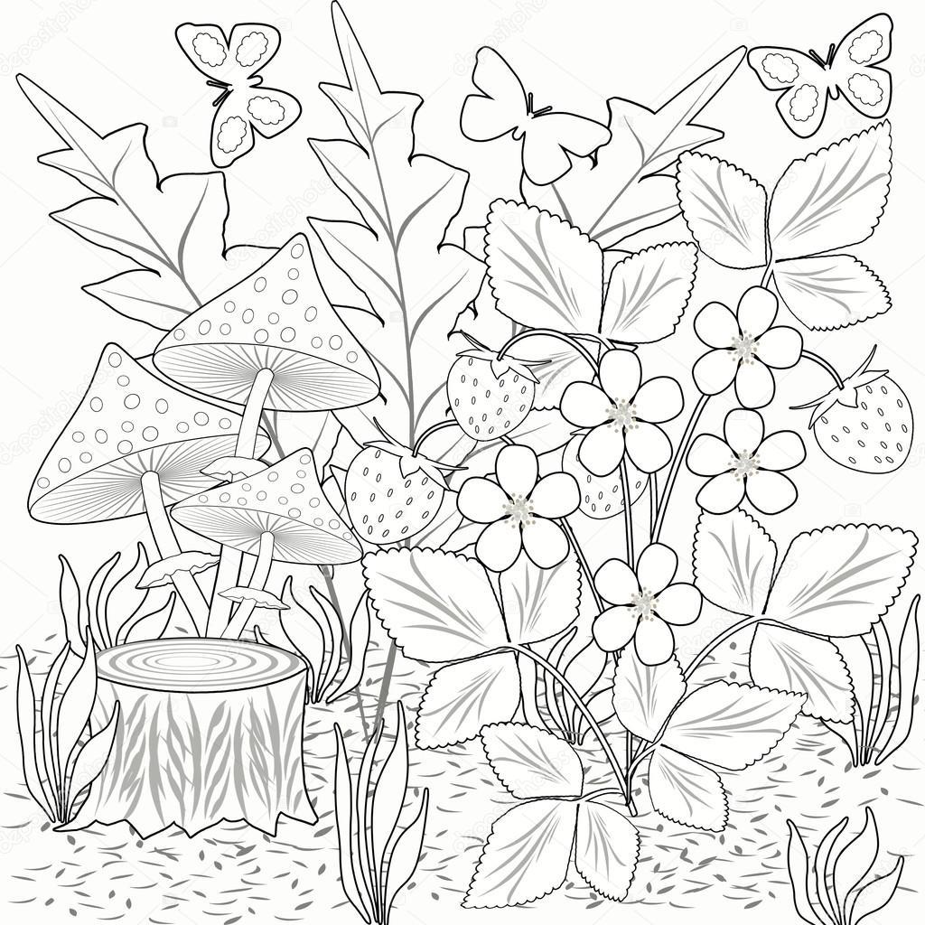 foto de disegni da colorare decorazioni fiori fragole e funghi in