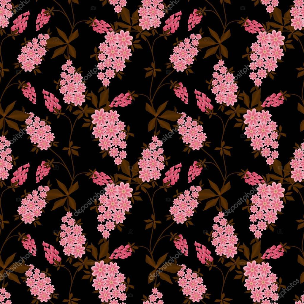 Floral seamless pattern, cute cartoon flowers black