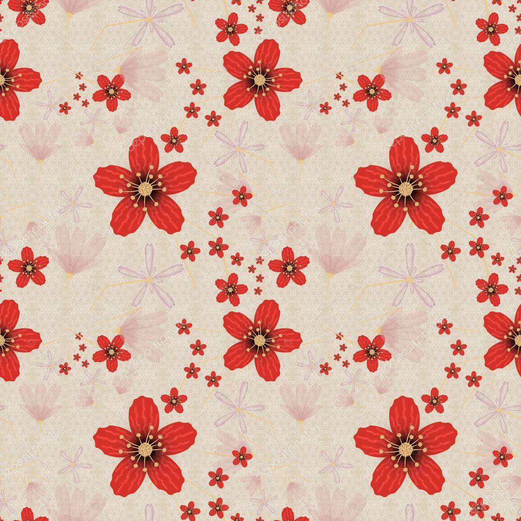 Kvetinovy Vzor Bezesve Roztomile Kreslene Kvety Bezove Pozadi