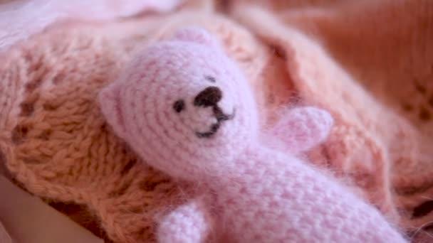 Pletený růžový medvídek