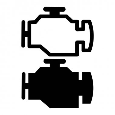 Engine icon on white background. car check engine. warning sign. flat style. car service concept. icon