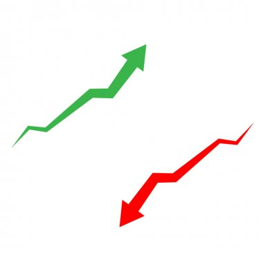 Arrow up and down icon on white background. arrow sign. flat style. red arrow symbol. green arrow symbol. icon