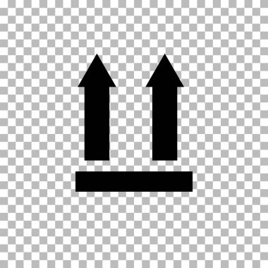 This side up icon on transparent background. two arrows indicating top side of packaging. This side up symbol. This side up packaging sign. flat style. icon