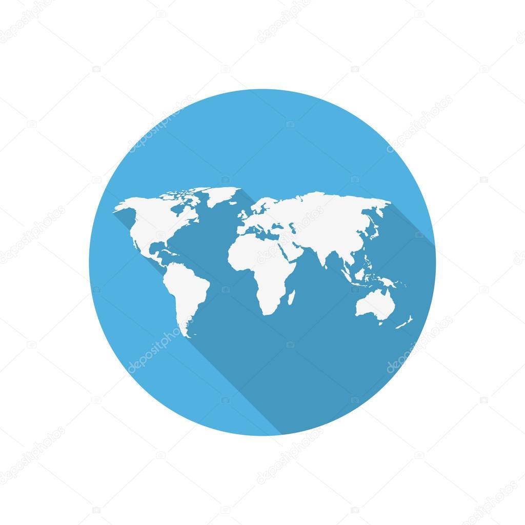 ic ne de mappemonde sur un cercle bleu dans un design plat image vectorielle stas11 103413714. Black Bedroom Furniture Sets. Home Design Ideas