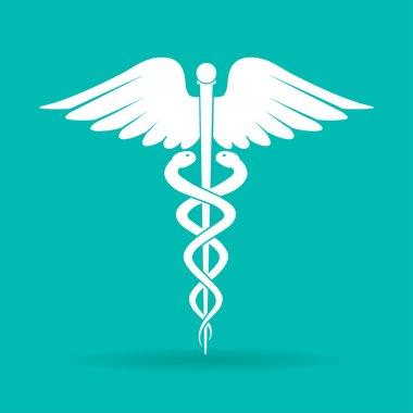 caduceus medical symbol (emblem for drugstore or medicine, medical sign, symbol of pharmacy, pharmacy snake symbol)