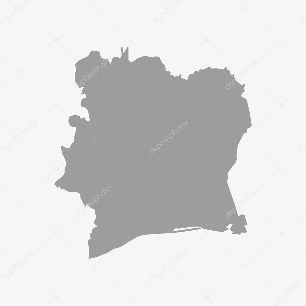 Mappa Di Costa Davorio In Grigio Su Sfondo Bianco Vettoriali