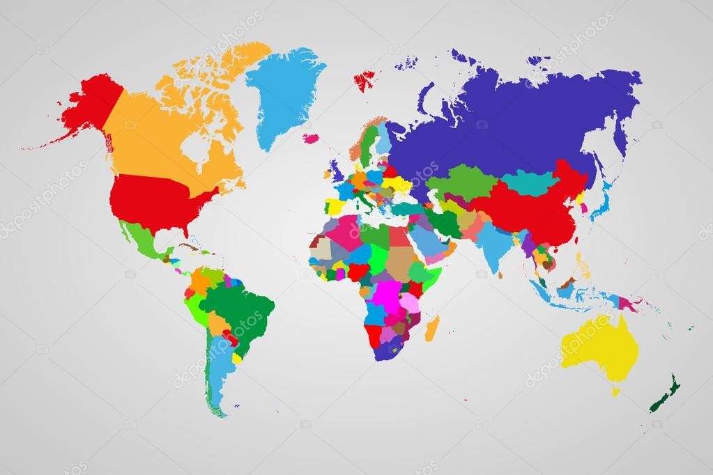 Colored political world map with sovereign countries and larger colored political world map with sovereign countries and larger dependent territories different colors for each gumiabroncs Choice Image