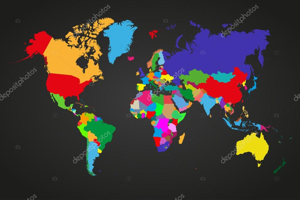 Colored political world map with sovereign countries and larger ...