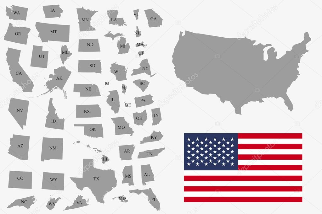 Set Of Gray USA States On White Background Vector Illustration - Map of states in usa