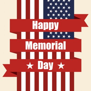 Flag of USA to memorial day with ribbon. Vector illustration