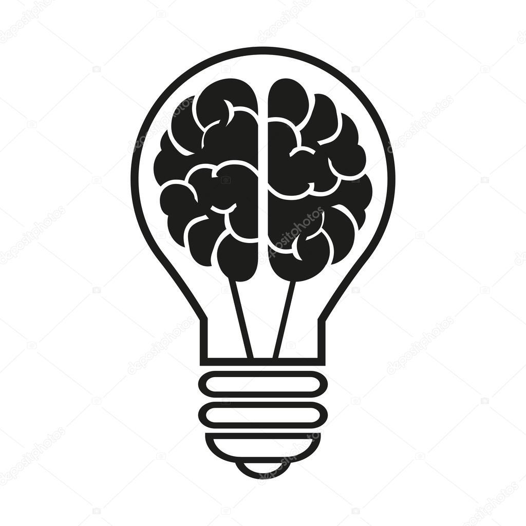 Light Bulb With A Brain Icon. Vector Illustration Eps10 U2014 Stock Vector