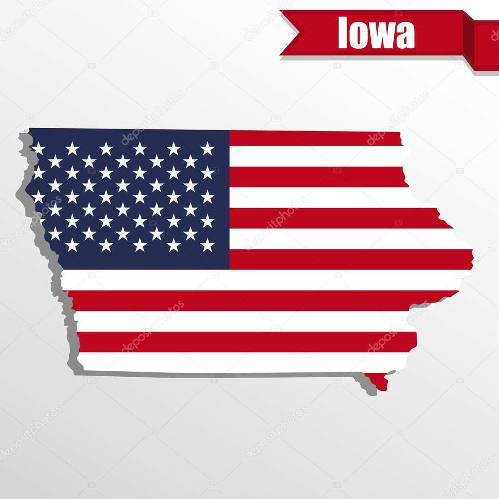 Iowa State map with US flag inside and ribbon — Stock Vector ...