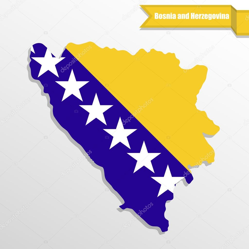 Karta Bosnien Och Hercegovina.Bosnien Och Hercegovina Karta Med Flagga Inne Och Bandet Stock