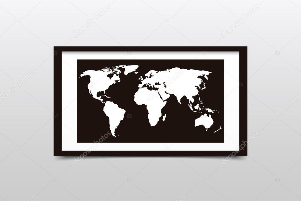 World map on a black frame vector illustration stock vector world map on a black frame vector illustration stock vector gumiabroncs Choice Image