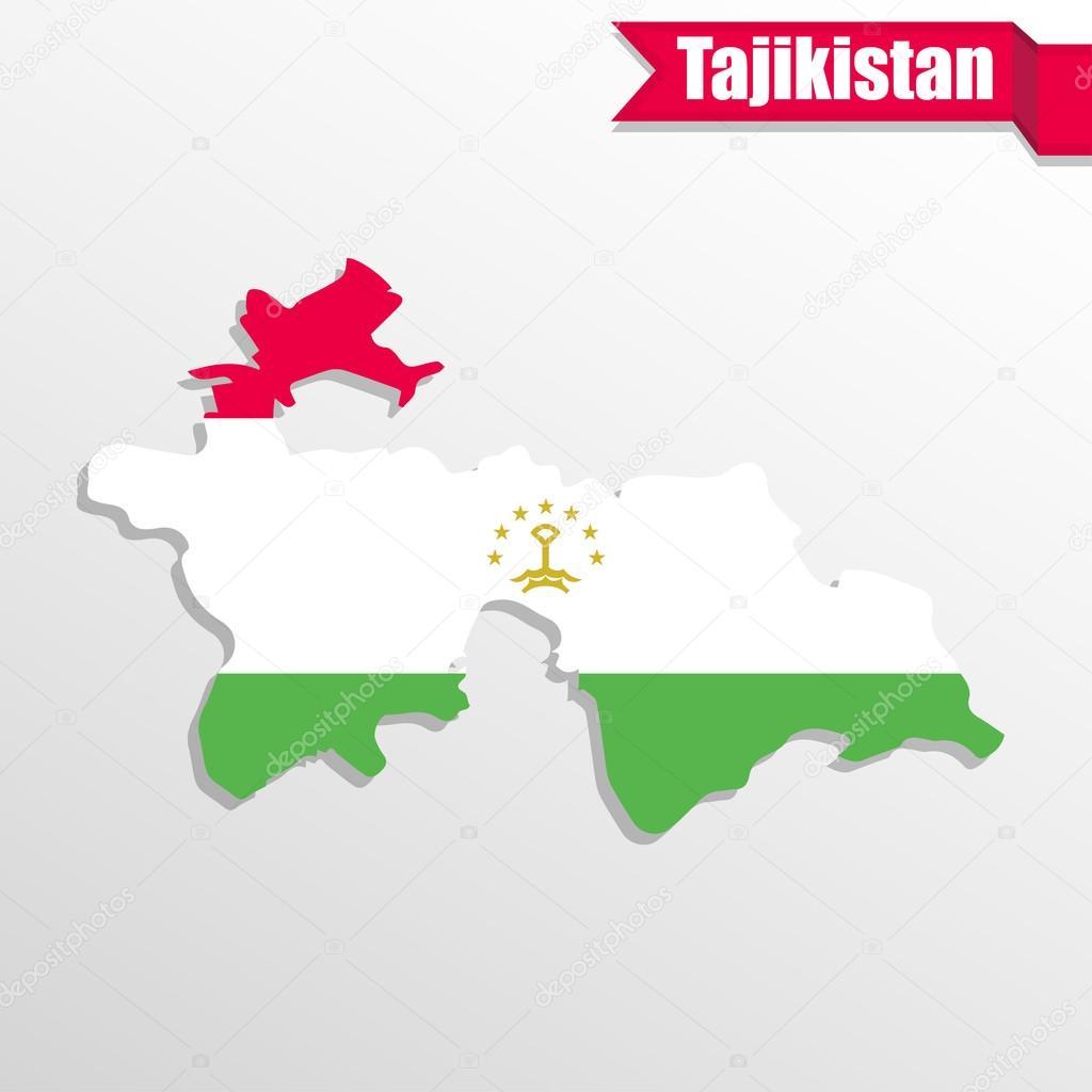 Tajikistan Map With Flag Inside And Ribbon Stock Vector Stas - Tajikistan map vector