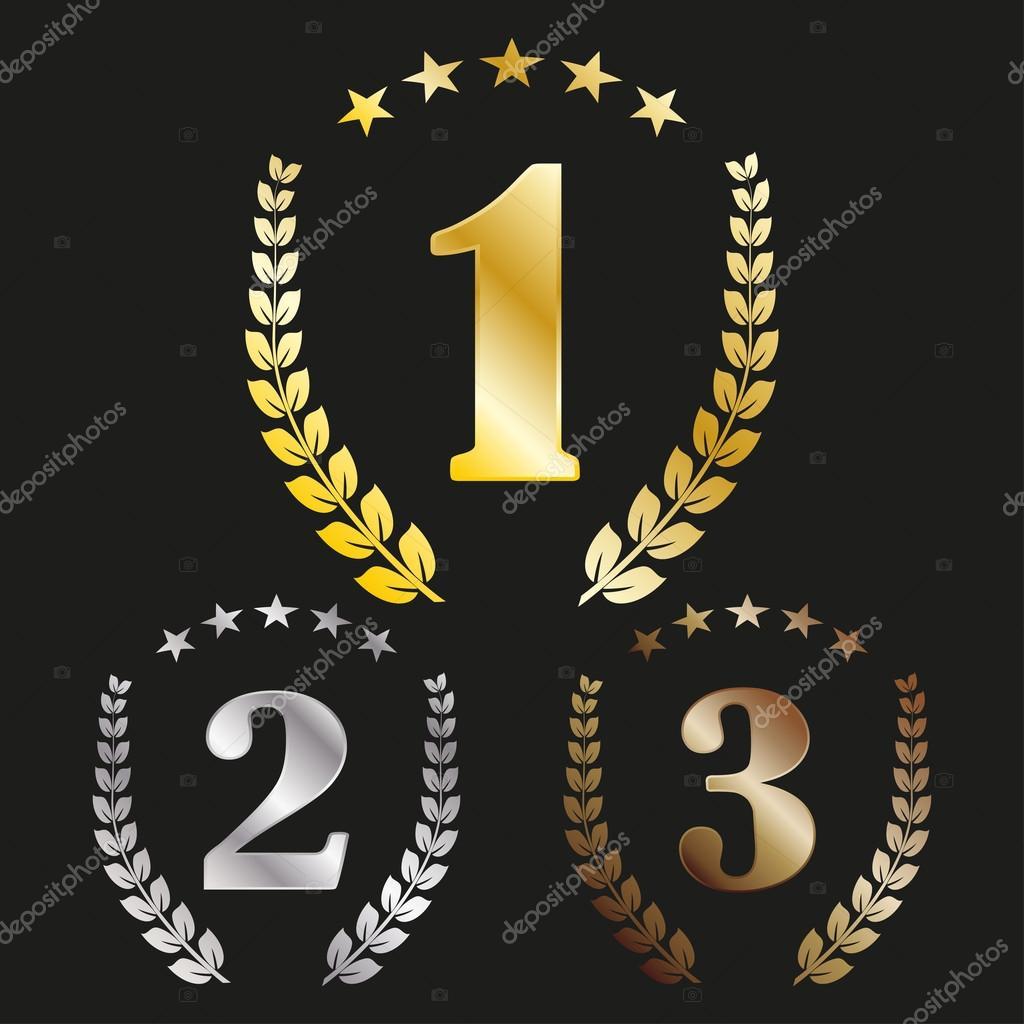 Numero 1 2 3 con una corona di alloro e le stelle for Numero di deputati e senatori