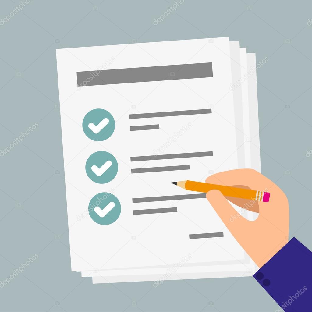 チェックリストと鉛筆のビジネス紙を持つ手 ストックベクター stas11