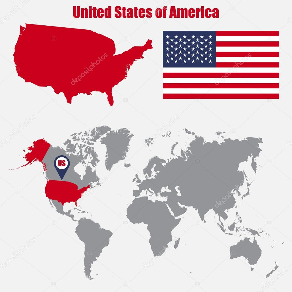 USA map on a world map with flag and map pointer. Vector ...