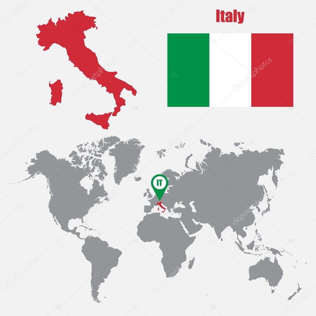 Italy map on a world map with flag and map pointer vector italy map on a world map with flag and map pointer vector illustration vector gumiabroncs Gallery