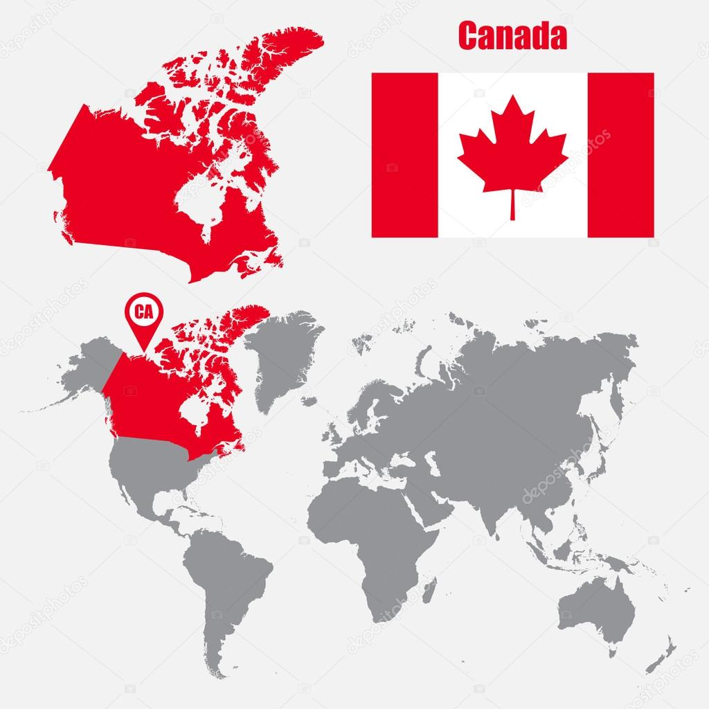 Canada map on a world map with flag and map pointer vector canada map on a world map with flag and map pointer vector illustration vector de stas11 gumiabroncs Image collections