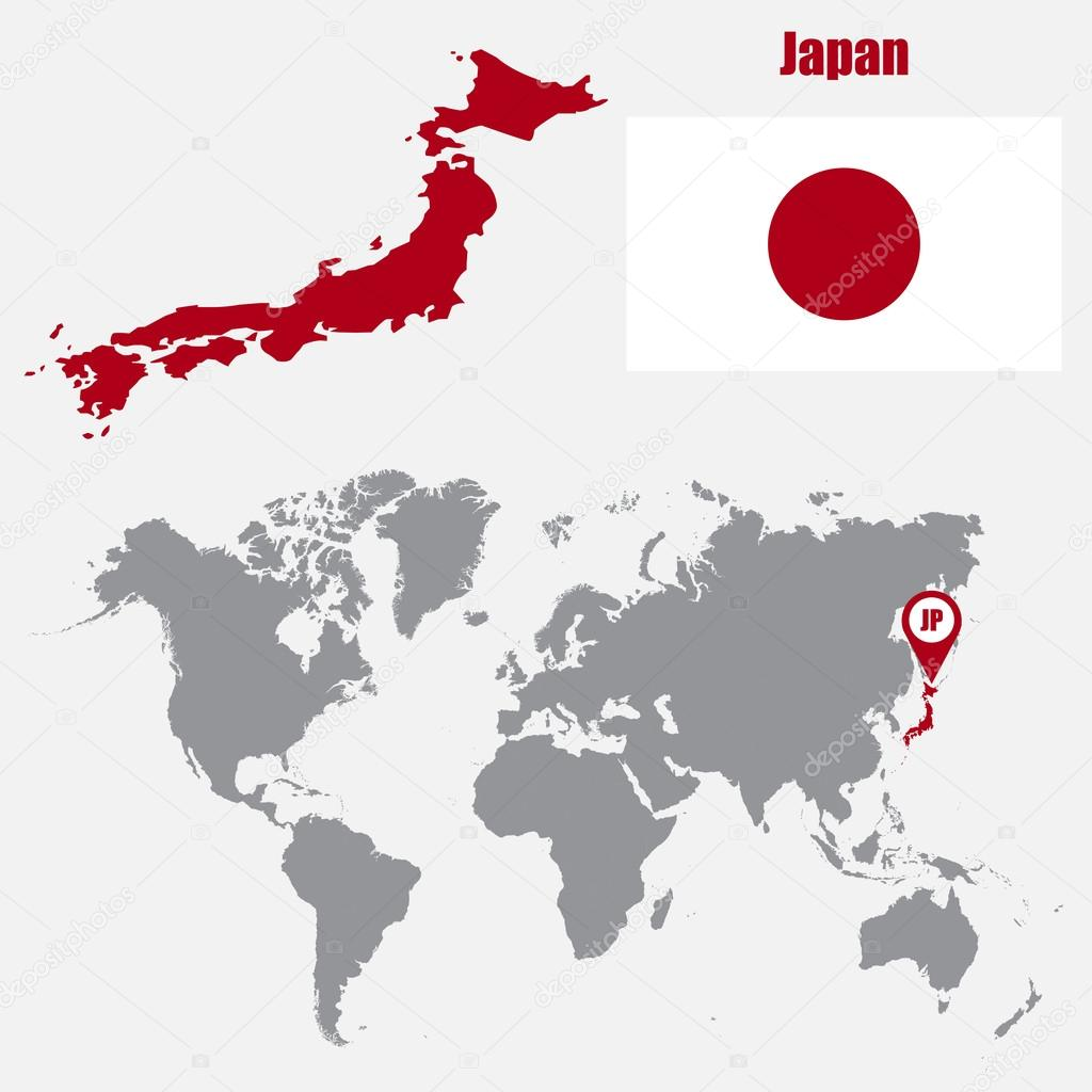Japan Map On A World Map With Flag And Map Pointer Vector