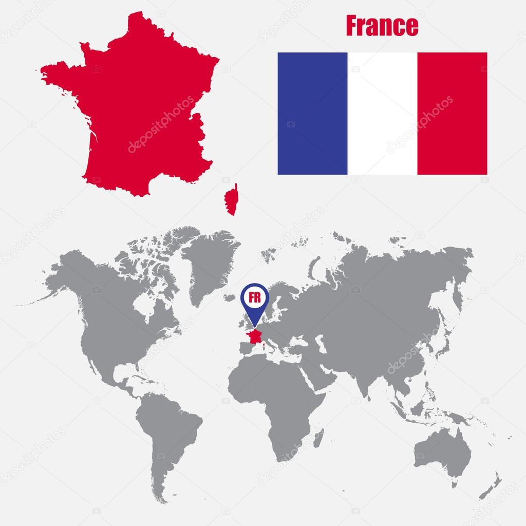 France map on a world map with flag and map pointer. Vector ...