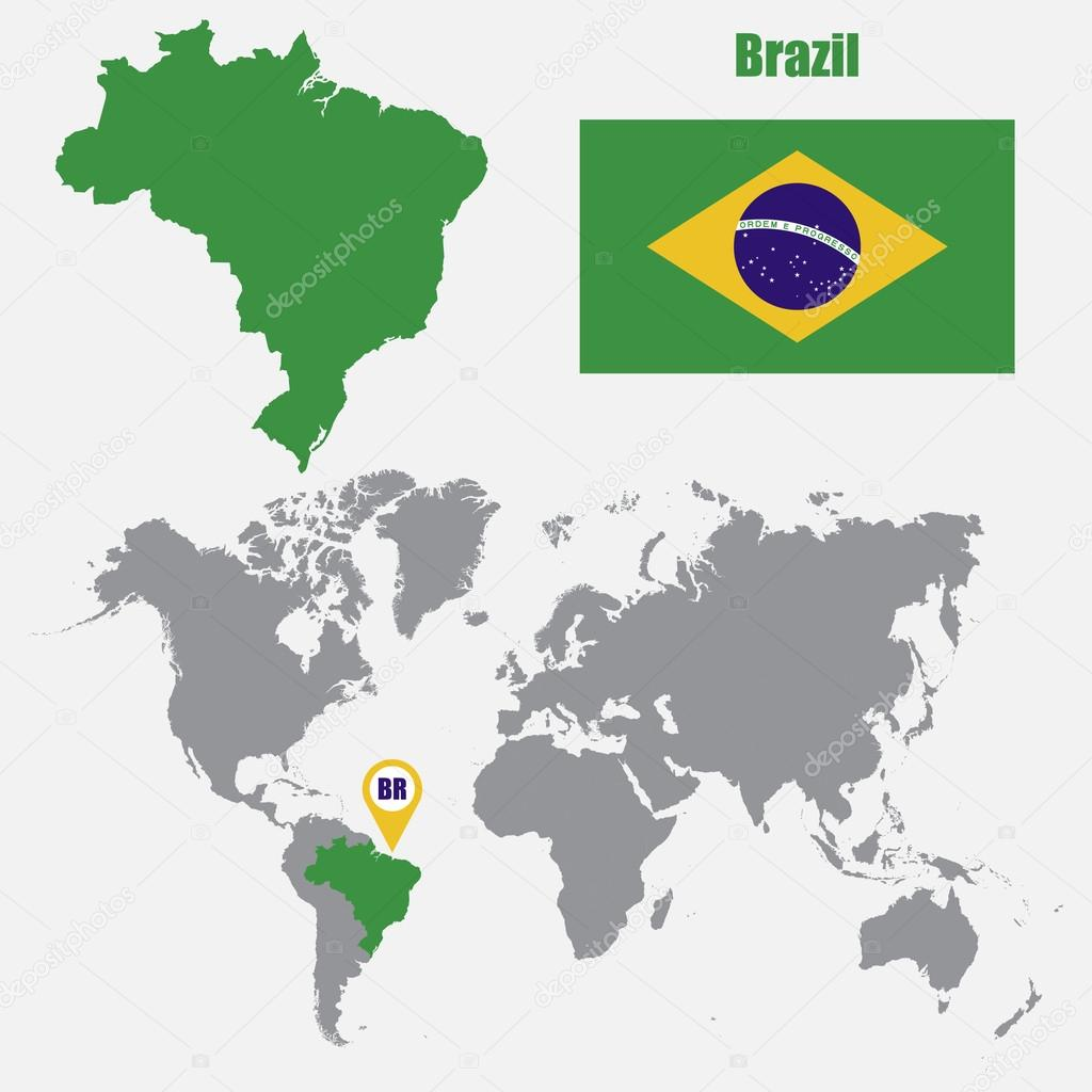 Brazil map on a world map with flag and map pointer. Vector ...