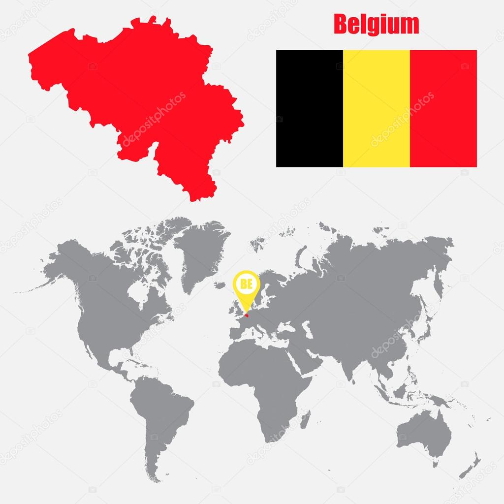 Belgium map on a world map with flag and map pointer. Vector ...