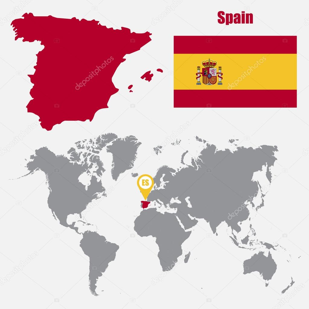 Map Of Spain On World Map.Spain Map On A World Map With Flag And Map Pointer Vector