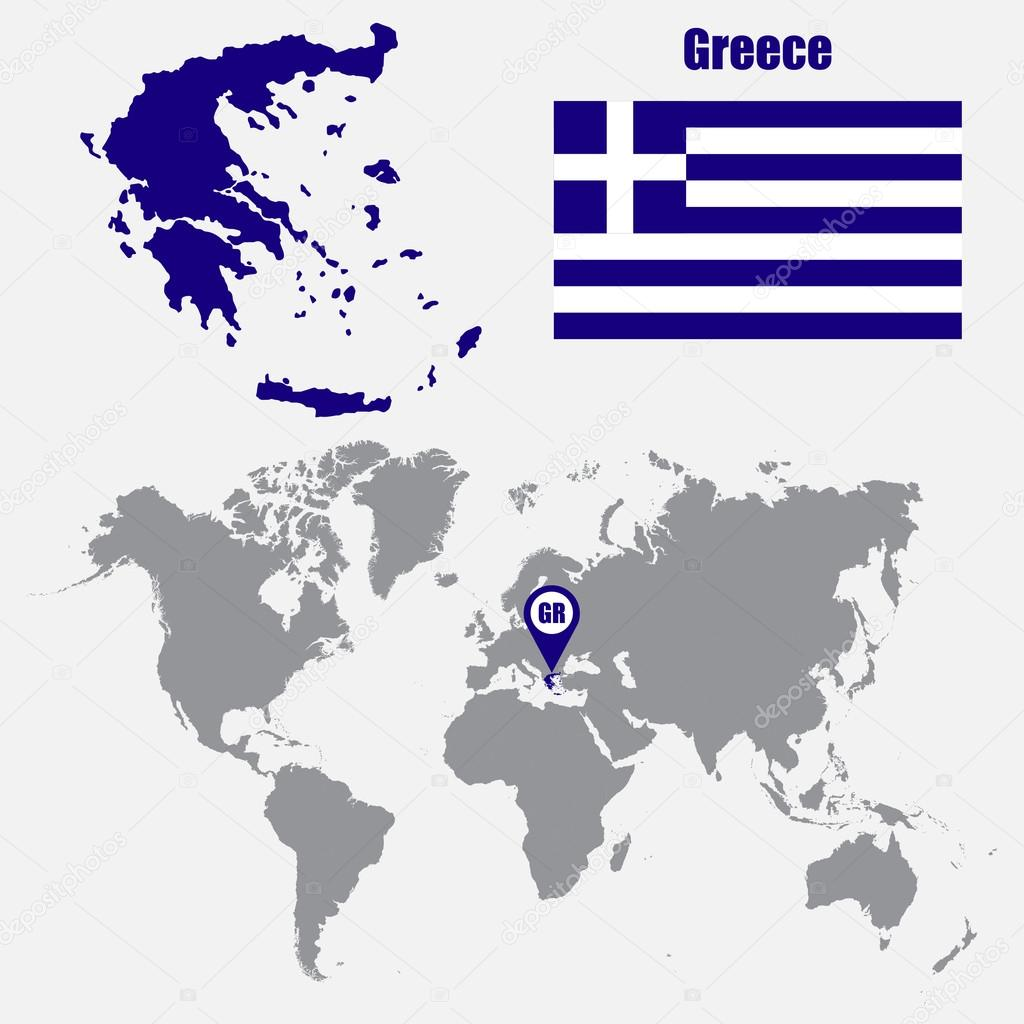 Greece map on a world map with flag and map pointer vector greece map on a world map with flag and map pointer vector illustration vector gumiabroncs Image collections
