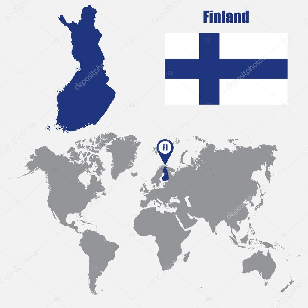 Finland map on a world map with flag and map pointer. Vector ...