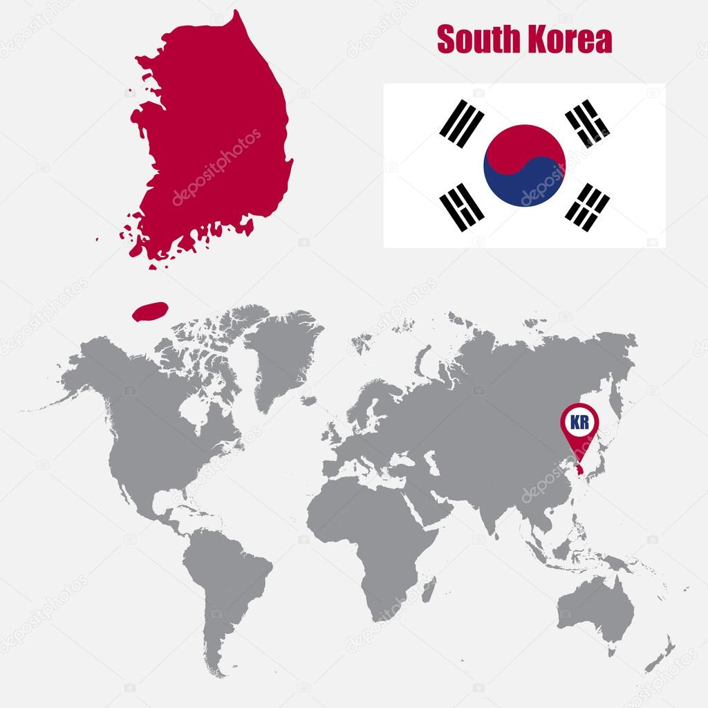 South Korea map on a world map with flag and map pointer. Vector