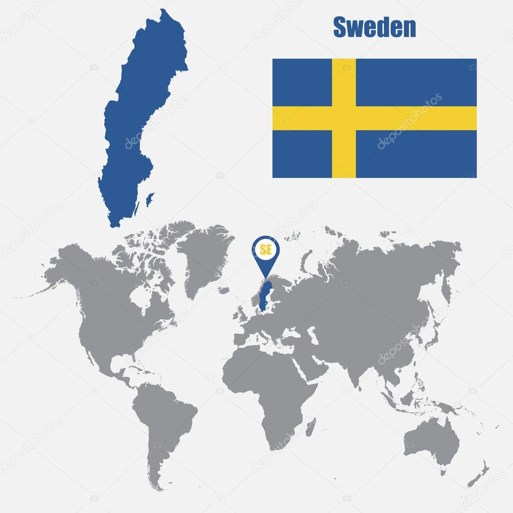 Sweden map on a world map with flag and map pointer. Vector ...