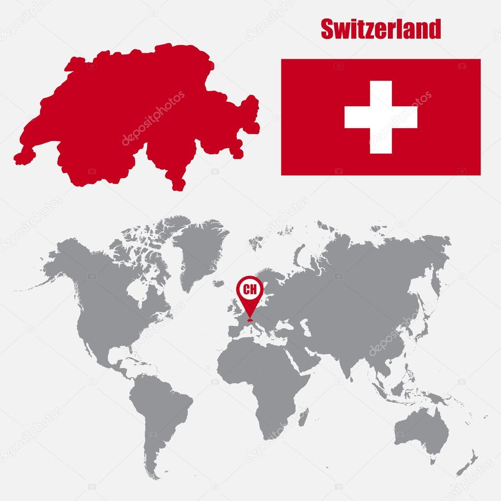 Switzerland map on a world map with flag and map pointer vector switzerland map on a world map with flag and map pointer vector illustration archivo gumiabroncs Choice Image